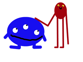 Two aliens smile at each other; one is tall and red with long limbs, while the other is short and blue