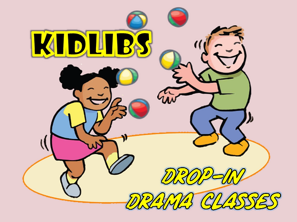 Two laughing cartoon children juggle colourful balls against a pink background