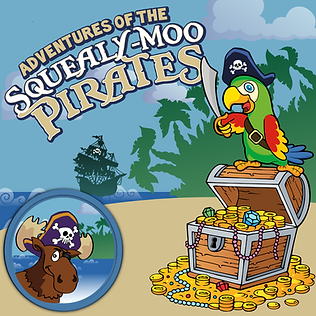 A colourful parrot stands on an open treasure chest overflowing with gold and jewels; a shadowy pirate ship appears on the horizon below the title Adventures of the Squealy-Moo Pirates
