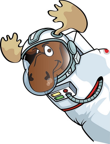 Squealy-Moo the Moose dressed as an astronaut and smiling at the viewer
