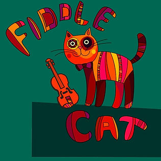 A smiling patchwork orange, red, and pink cartoon cat stands beside his violin in front of a green-blue background