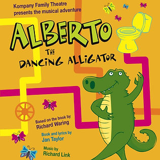Alberto the Dancing Alligator poses on a yellow background with multi-coloured plumbing pipes and a toilet