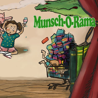Cartoon images depicting various stories and tales surround the title Munsch-O-Rama