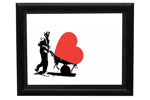 Man carrying a heart in a cart