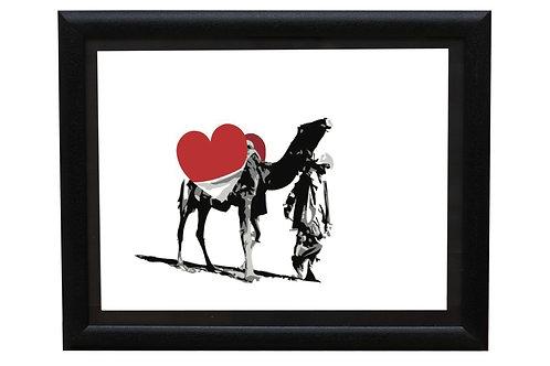 Camel carrying a heart