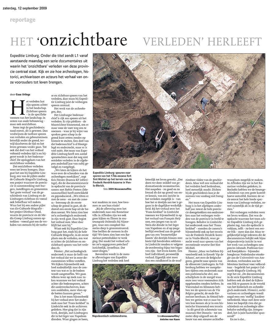 Mosasaurusfilm - Het onzichtbare verleden herleeft, Dagblad De Limburger / Limburgs Dagblad