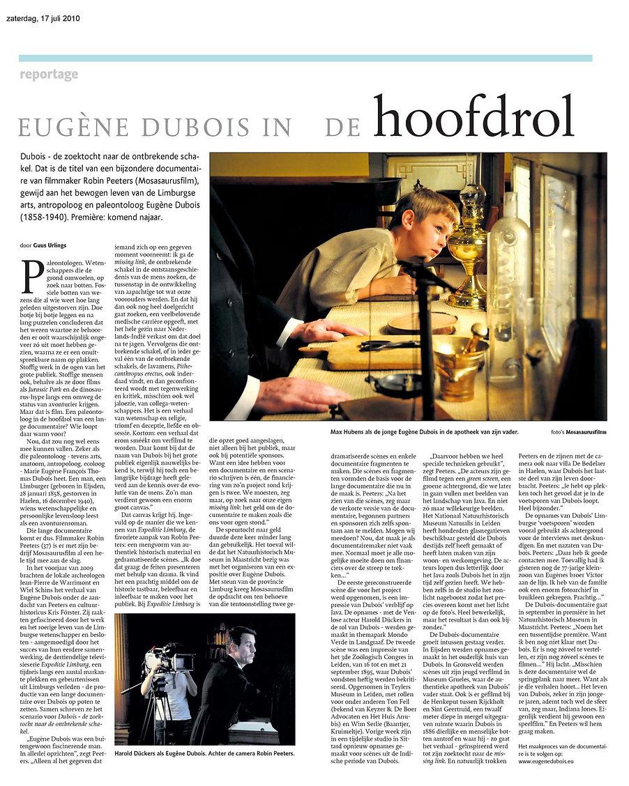 Mosasaurusfilm - Eugène Dubois in de hoofdrol, Dagblad De Limburger / Limburgs Dagblad