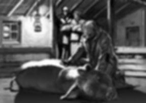 Christiaan Hesen alias Rowwen Hèze geneest een ziek varken. Artist impression door illustrator Frans Mensink voor de film 'De Mythe van de Rowwen Hèze' van filmmaker Robin Peeters.