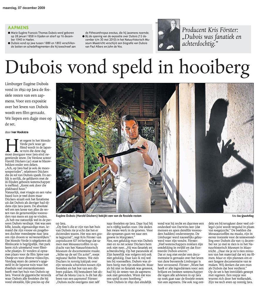 Mosasaurusfilm - Dubois vond speld in hooiberg, Dagblad De Limburger / Limburgs Dagblad