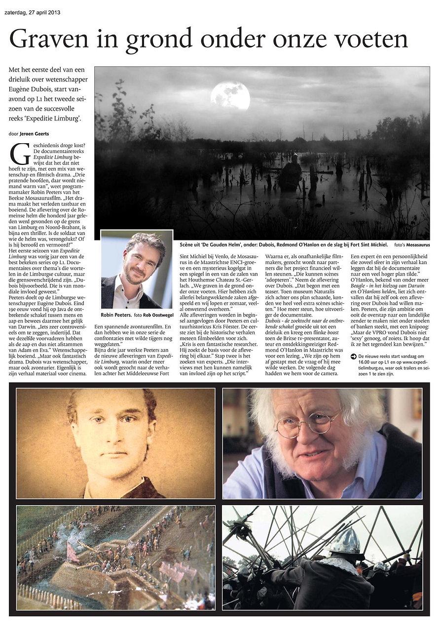Mosasaurusfilm - Graven in grond onder onze voeten, Dagblad De Limburger / Limburgs Dagblad