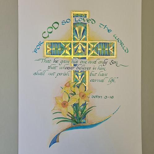 Biblical artwork and quote, John 3:16