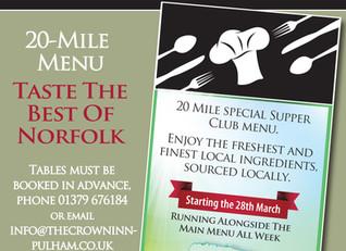 Taste the best of Norfolk!  - Supper Club 20-Mile Menu