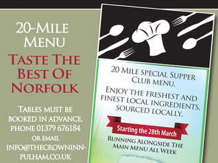 Taste the best of Norfolk!  - Supper Club 20-Mile Menu