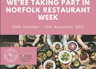 We're taking part in Norfolk Restaurant Week - 30th October - 10th November