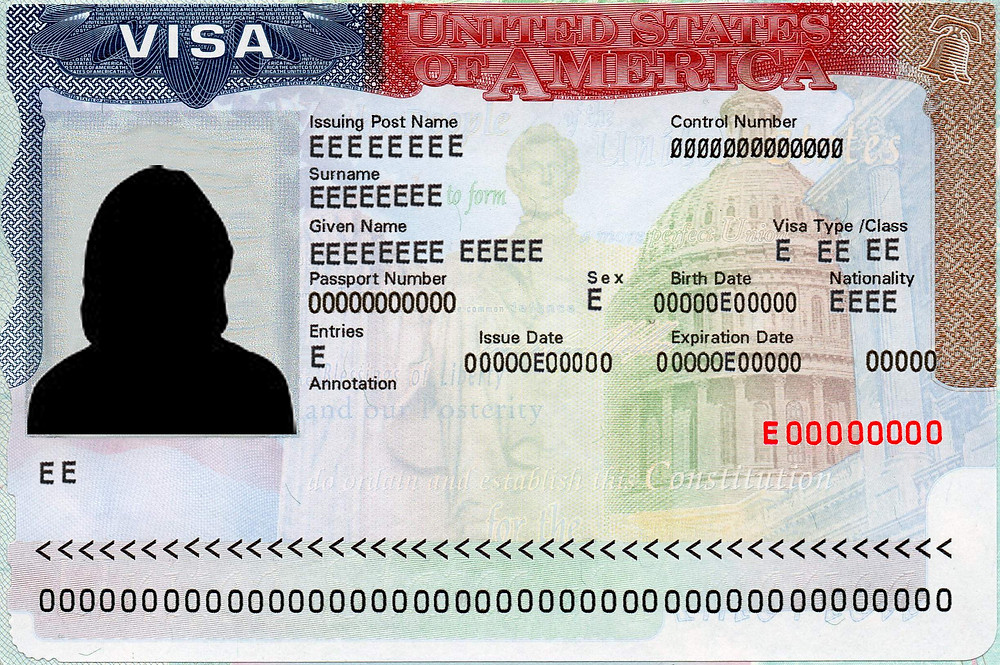 A example image of a US visa.