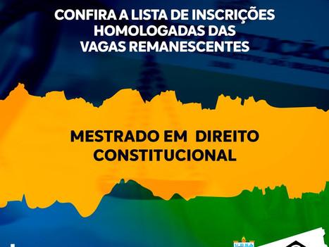 Confira lista das inscrições homologadas das vagas remanescentes para o Mestrado em Direito