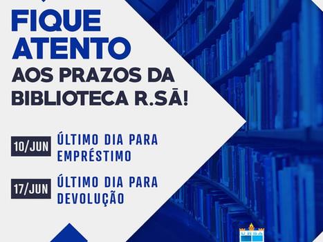 Fique atento aos prazos para empréstimo e devolução de livros da Biblioteca R.Sá