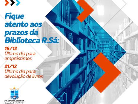 Prazo para devolução de livros da Biblioteca R.Sá vai até o dia 21 de dezembro