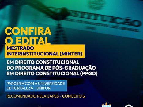 Confira o edital do Mestrado em Direito Constitucional em parceria com a UNIFOR