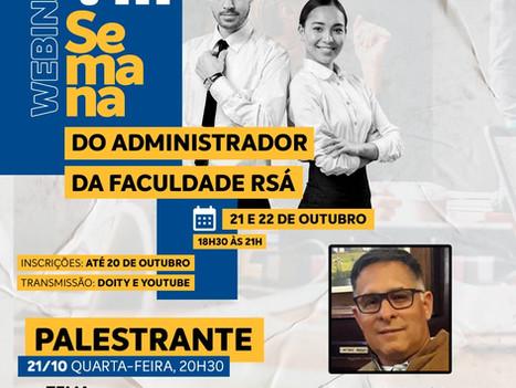 Inscrições Abertas para a VIII Semana do Administrador Online da Faculdade R.Sá