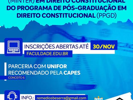 Abertas as inscrições para Mestrado em Direito da Faculdade R.Sá em parceria com a UNIFOR