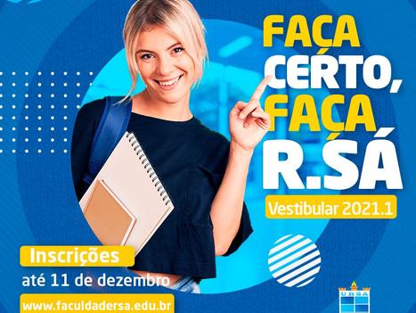 Inscrições abertas para o Vestibular Online 2021.1 da Faculdade R.Sá