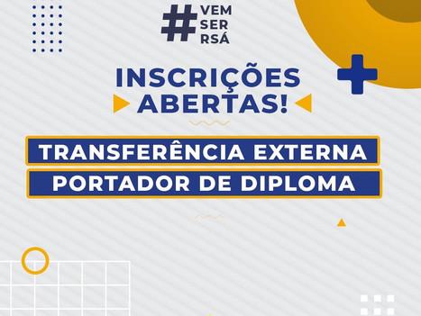 Abertas inscrições para recebimento de transferências e portadores de diploma