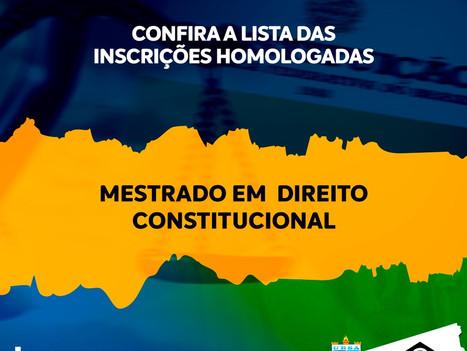 Confira lista das inscrições homologadas no processo de seleção do Mestrado em Direito