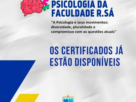 Certificados da II Semana de Psicologia da Faculdade R.Sá estão disponíveis