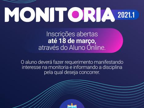 Inscrições abertas para o Programa de Monitoria 2021.1