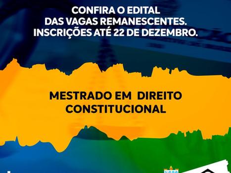 Abertas inscrições para vagas remanescentes para Mestrado em Direito Constitucional