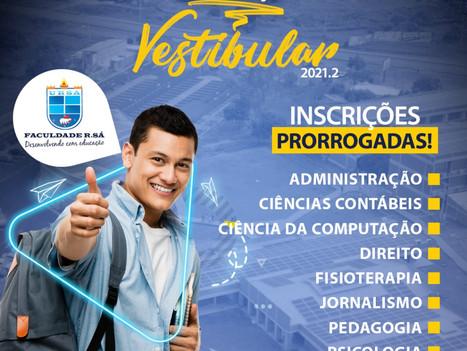 Inscrições prorrogadas para o Vestibular 2021.2 da Faculdade R.Sá