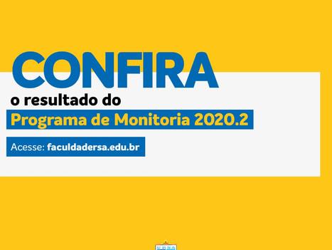 Divulgado o resultado do programa de monitoria 2020.2
