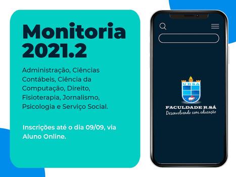 Inscrições abertas para o Programa de Monitoria 2021.2