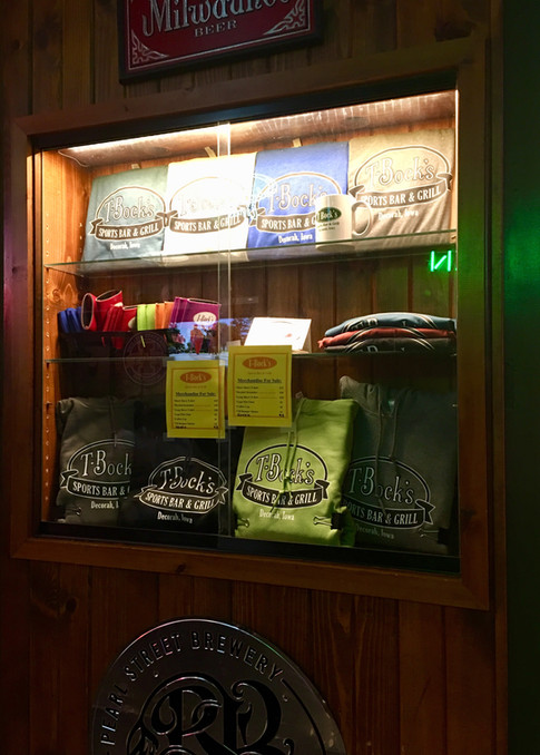 Merchandise at T-Bock's Sports Bar & Grill in Decoah, Iowa.