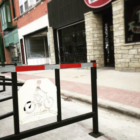Summer bike parking at T-Bock's!
