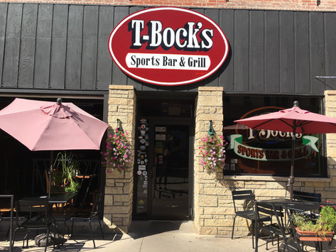 Outdoor patio at T-Bock's Sports Bar & Grill in Decoah, Iowa.