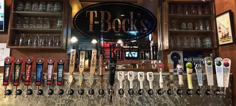 Beers on tap at T-Bock's Sports Bar & Grill in Decoah, Iowa.