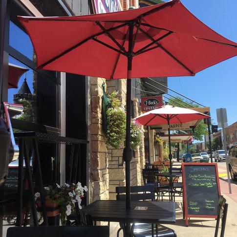 Outdoor Patio at T-Bock's Decorah, Iowa Restaurant.