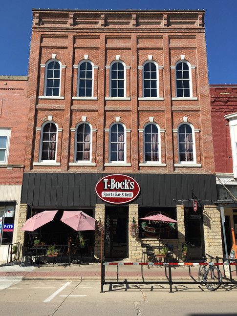Facade of T-Bock's Sports Bar & Grill in Decoah, Iowa.