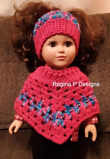 """18"""" Doll Bun Hat & Poncho"""