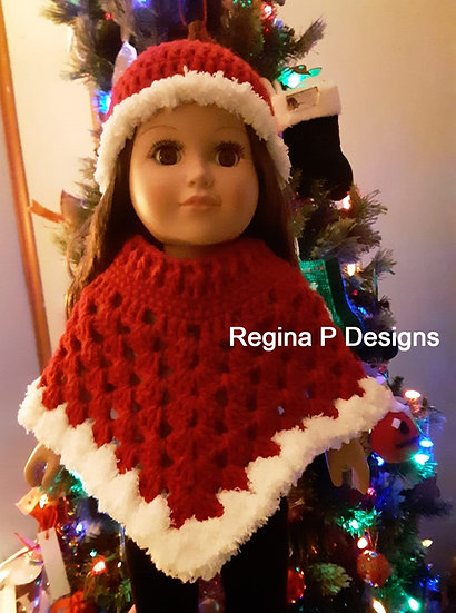 "18"" Doll Beanie & Poncho Set"