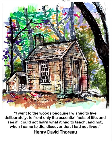 Drawing of hut in the woods