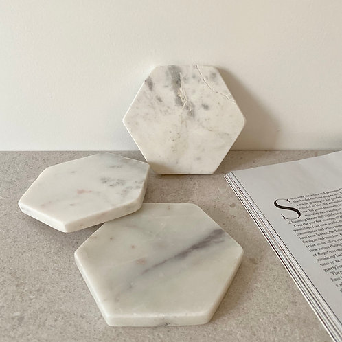 White marble coaster // jewellery dish
