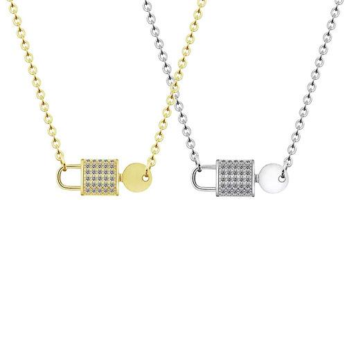 Angela Crystal padlock necklaces