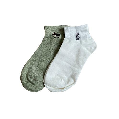 Embroidered animal ankle socks