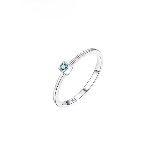 Daphne green stone silver rings