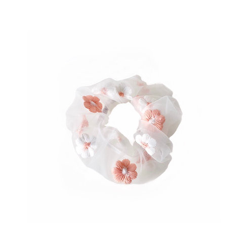 Pink embroidered flower scrunchies