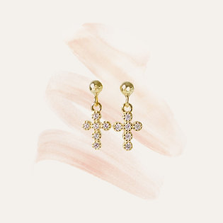 Ingrid crystal cross earrings