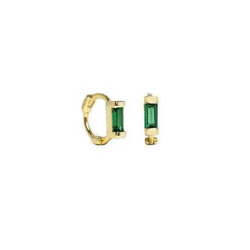 Ariel mini green stone hoop earrings